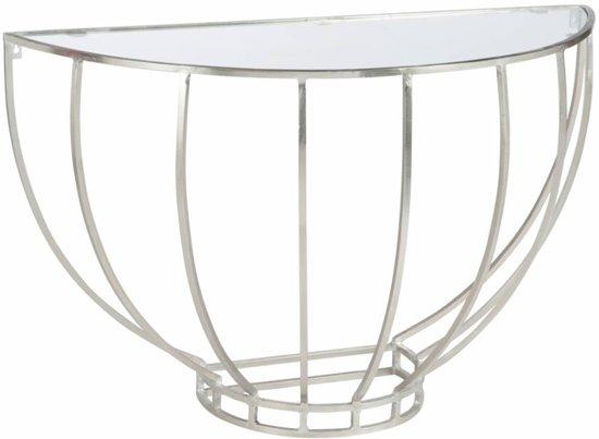 Sidetable Met Glazen Blad.Duverger Silver Sidetable Halfrond Glazen Blad Zilverkleurig Metalen Frame
