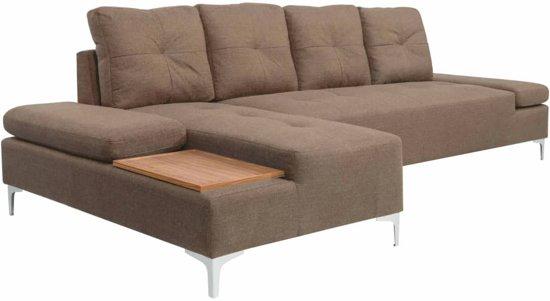 vidaXL Bank L-vormig met houten blad XXL 300 cm stof bruin