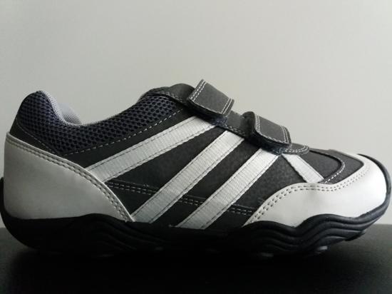 Geox Respira J 744 Ya - Chaussures De Sport En Cuir Couche - Les Gars - Taille 33 - Gris Avec Velcro lSsvS