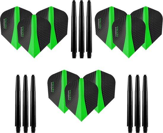 9 stuks Harrows Retina – Groen – Darts flights - en 9 stuks Dragon Darts - Medium – darts shafts