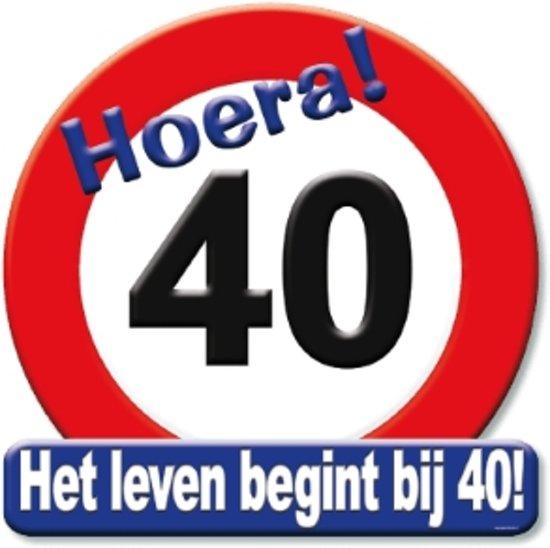 Huldeschild hoera 40 jaar 50x50cm