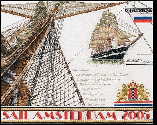 Thea Gouverneur Borduurpakket 440A Sail Amsterdam 2005 - Aida stof 100% katoen