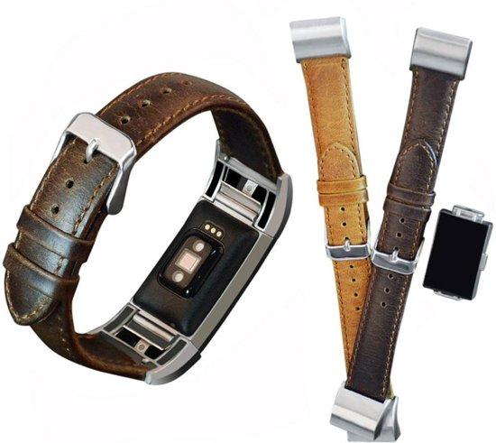PU Lederen Horloge Band Voor Fitbit Charge 2 - Armband Strap Polsband - Large - Donker Bruin