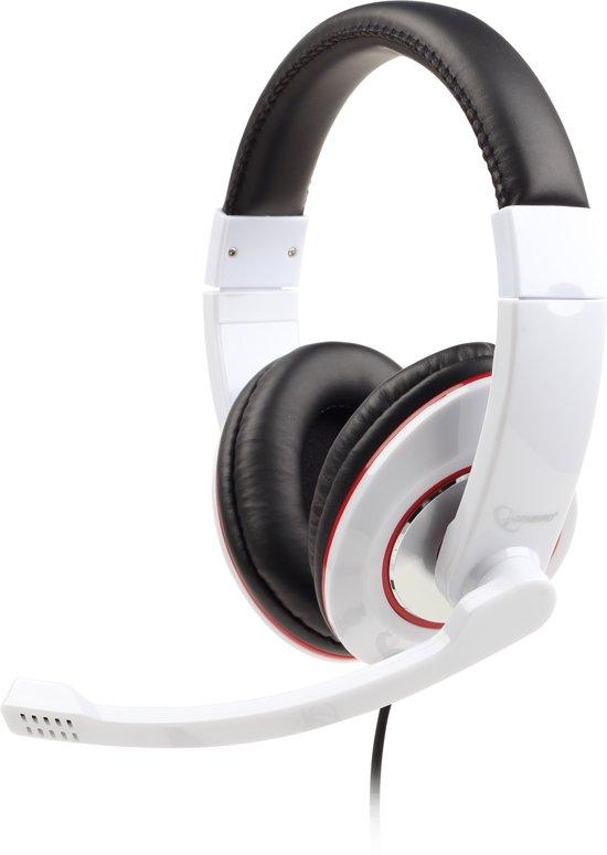 Gembird MHS-001-GW - Koptelefoon met microfoon, glossy wit