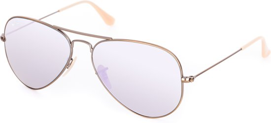 Ray-Ban RB3025 167/4K - Aviator (Flash) - zonnebril - Brons-Koper / Lila Spiegel - 58mm