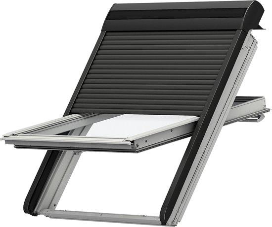 velux rolluik ombergrijs elektrisch op. Black Bedroom Furniture Sets. Home Design Ideas
