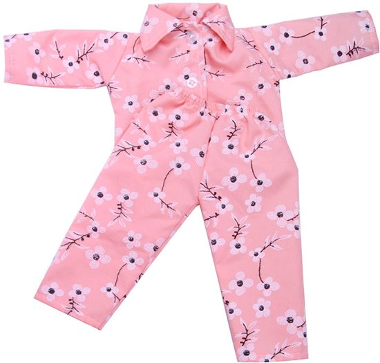 Roze pyjama met bloemen voor babypop zoals Baby born - Poppenkleding