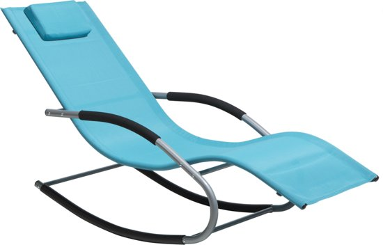 Bol.com beliani carano tuinligstoel stof blauw 63x149x84