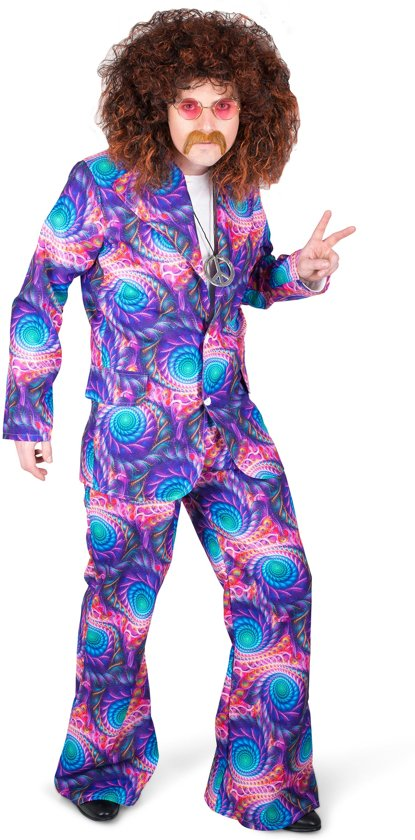 Hippie Kostuum | Boho Chic Flower Power Dude | Man | Medium | Carnaval kostuum | Verkleedkleding