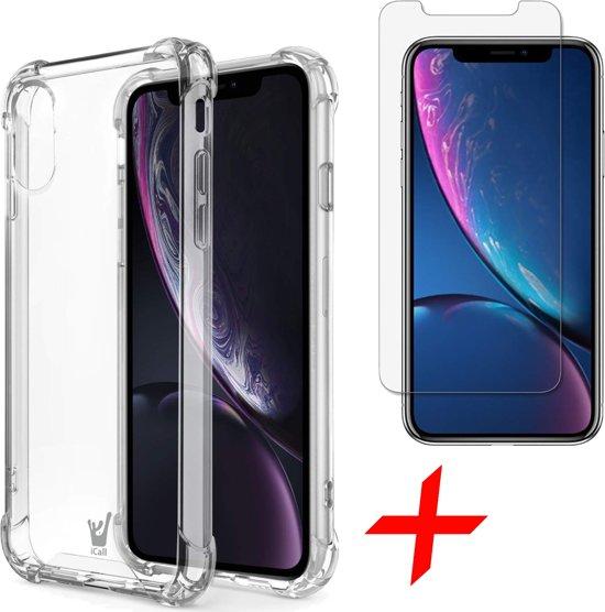 Hoesje voor Apple iPhone Xr Siliconen Hoesje met Versterkte Rand Shock Proof Case + Tempered Glass Screenprotector Transparant iCall