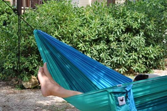 MoreThanHip Hangmat - Blauw/Turkoois - Parachutestof