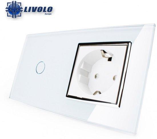 Livolo Tweevoudig-Enkelpolig Touch Lichtschakelaar Met Stopcontact Wit