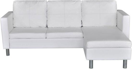 VidaXL - Driezitsbank L-vormig kunstleer secties wit