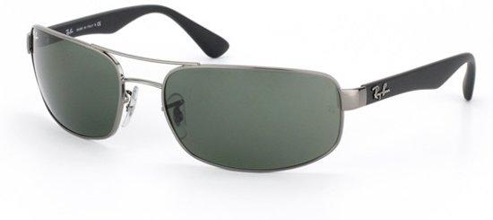 Ray-Ban RB3445 004 - zonnebril - Staalgrijs Zwart / Groen Klassiek G-15 - 64mm