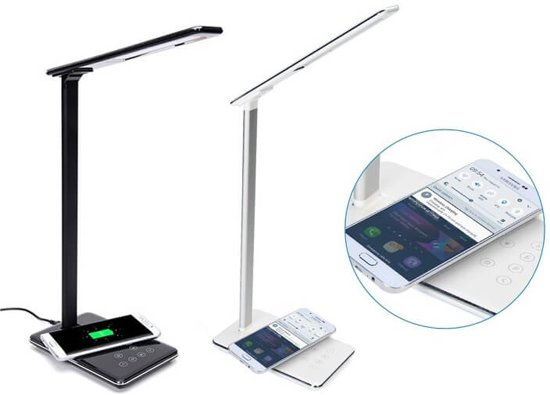 Bureaulamp met QI Draadloos Opladen Dimbaar Zwart Verstelbare Kleurtemperatuur (2800 ~5600K) USB Oplaadpoort Verstelba