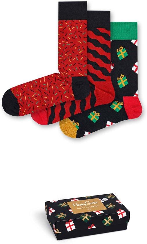 Happy Socks Kerst Giftbox met Muziek - Zwart/Rood - Maat 41-46