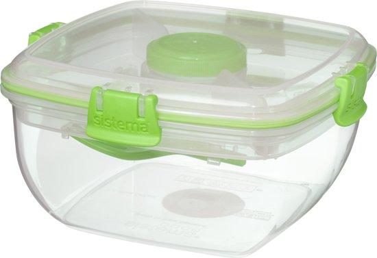Sistema To Go Saladebox - 1,1 l - 16,5 x 16,5 x 9 cm - Limoengroen