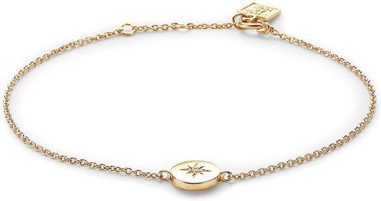 Twice As Nice Armband in 18kt verguld zilver, ronde met ster in zirkonia  16 cm+2 cm