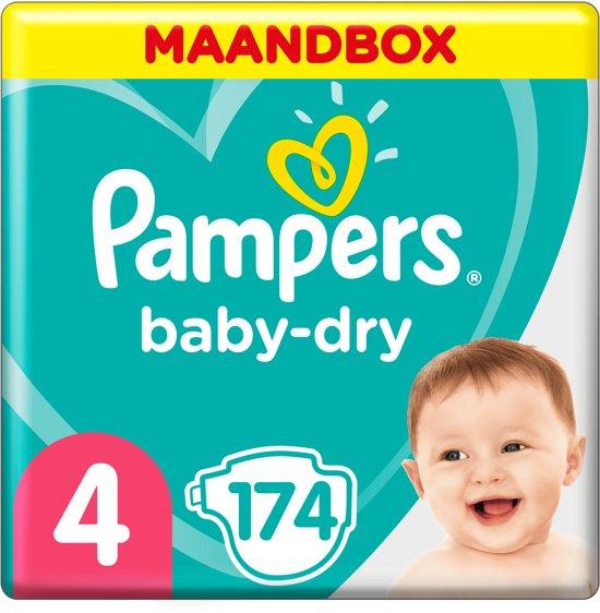 Pampers Baby-Dry - Maat 4 (Maxi) 8-16 kg - Maandbox 174 Stuks - Luiers