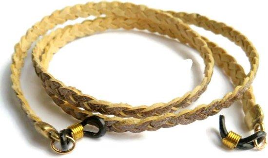 Brillenkoord - gevlochten plat leer - middenbruin -  5 mm - goudkleurige kapjes