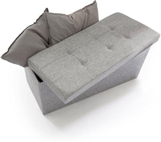 relaxdays - opvouwbare bank met opslag - Bankje linnen - Zitbank grijs of bruin