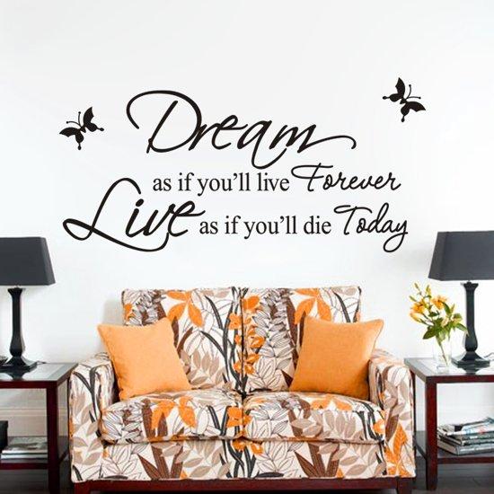muursticker tekst dream live forever woonkamer slaapkamer modern decoratie tekststicker