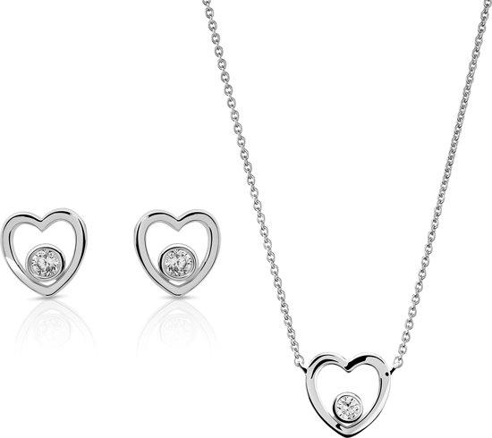 Orphelia SET-7484 - Juwelenset: Ketting + Oorbellen - Zilver 925 - Zirkonium - Hart