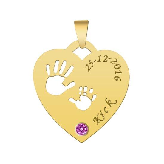 New bol.com | Gouden hanger hart met handjes en geboortesteen voor mama @JI26