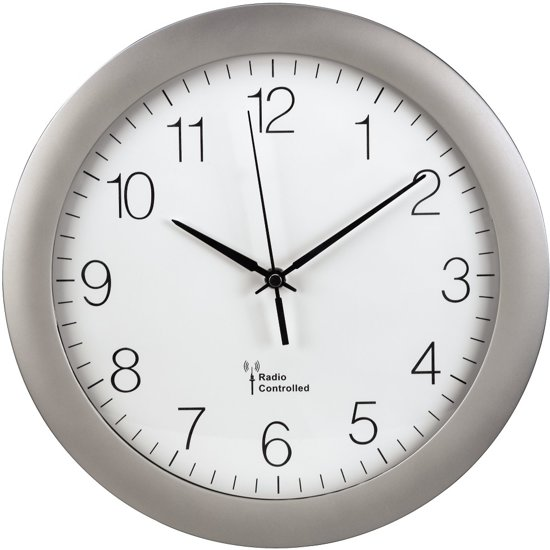 Hama radio gestuurd klok rond kunststof 30 cm zilver - Klok cm ...
