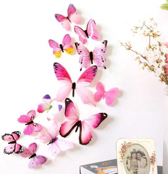 3D Vlinders Muurstickers - Koelkast Sticker -  Roze - Paars - Muurdecoratie Stickers - Muurstickers - Muurdecoratie Woonkamer - Muurdecoratie Kinderkamer - Muurdecoratie Babykamer - Muurdecoratie Slaapkamer - Woondecoratie