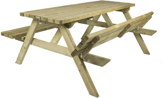 MaximaVida houten picknicktafel Economy 180 cm- 4 cm dik- opklapbare zittingen- veilige ronde hoeken