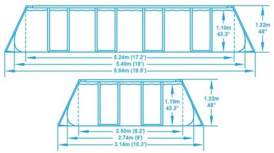 Bestway Power Steel Frame Zwembad - 549 x 274 x 122 cm