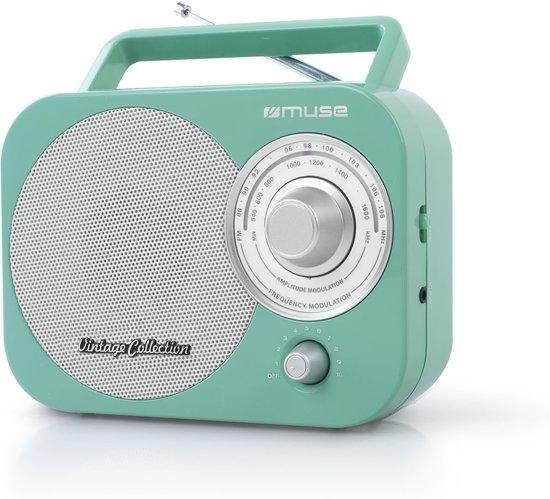 Muse M-055 RG - Draagbare radio, vintage style - groen
