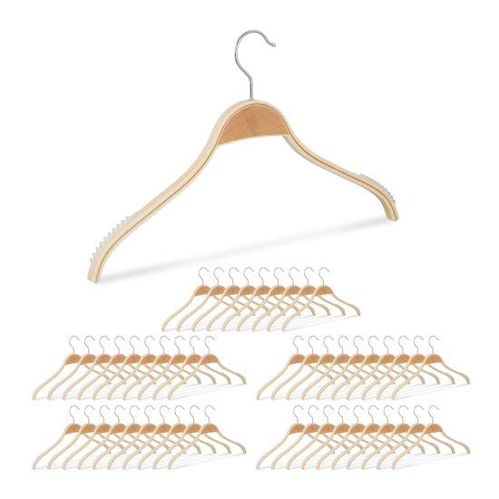 relaxdays 50 x kledinghangers hout - klerenhangers - natuurlijke uitstraling - 40 cm