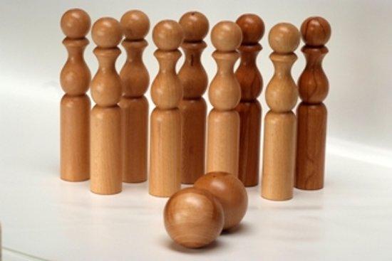 Kegelspel in hout 30 cm (9 kegels) en 2 ballen