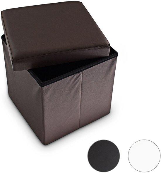 relaxdays Kleine poef vierkant - Kruk kunstleer - Zwart wit bruin - 38x38x38 - Opslag 40 L
