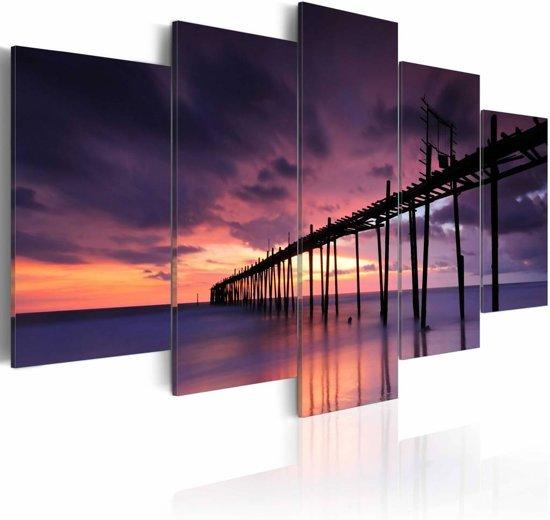 Schilderij - Zonsondergang aan de Zeekant, 5luik