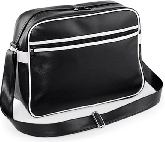 Bagbase Original retro messenger, Kleur Black/ White