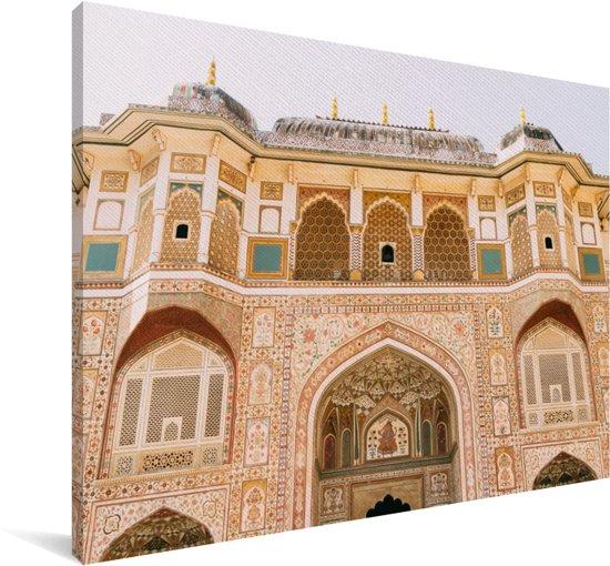 De fantastische versierde voorgevel van het Fort Amber in India Canvas 30x20 cm - klein - Foto print op Canvas schilderij (Wanddecoratie woonkamer / slaapkamer)
