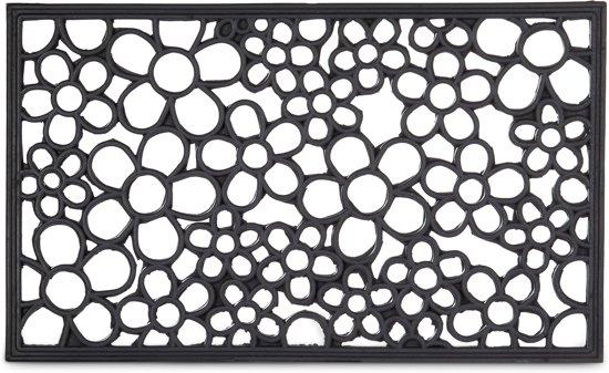 Super bol.com | relaxdays deurmat rubber bloemen patroon, antislip mat IF68