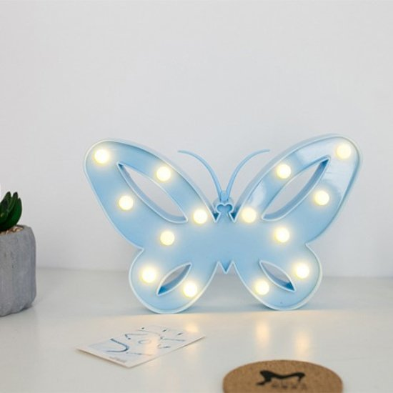 bol.com | Vlinder lamp led verlichting tafel slaap woonkamer blauw