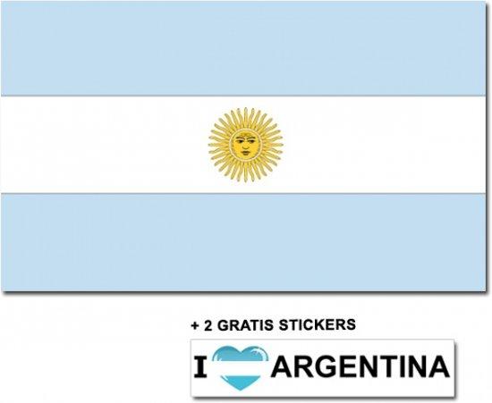 Argentijnse vlag met 2 gratis Argentinie stickers