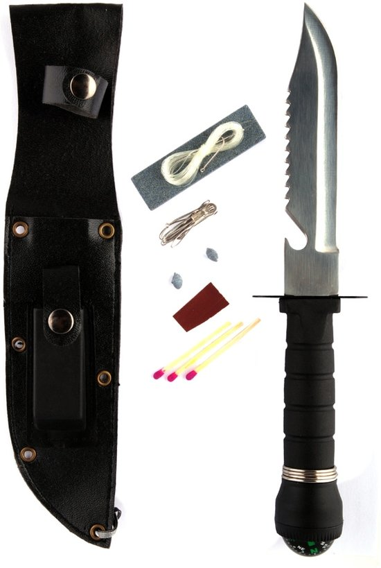 Fosco Survivalmes - Zwart - 28cm - Incl Survival-Kit