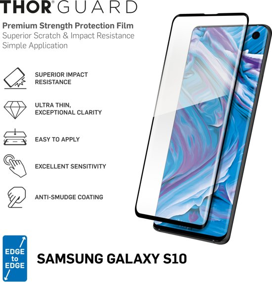 THOR Full Screenprotector + Apply Frame voor Samsung Galaxy S10 - Zwart