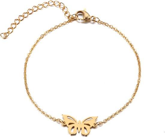 RVS vlinder armband 17-20 cm | bff | butterfly | goudkleur