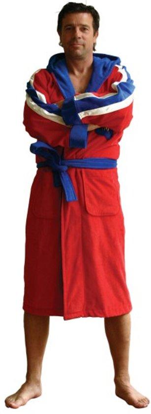 Heren badjas - rood - capuchon - kuitlengte - borduring -maat M