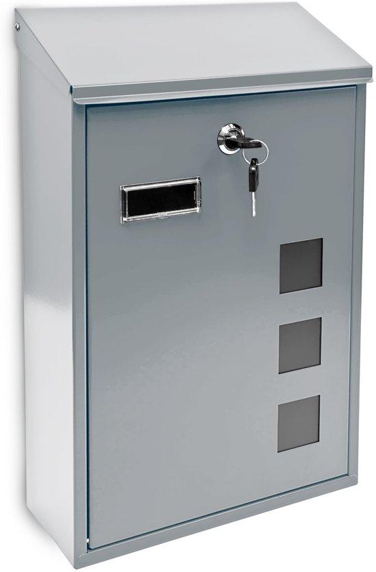 relaxdays Brievenbus modern design - Wandmodel gelakt metaal - 25x40 cm - Keuze 4 kleuren.