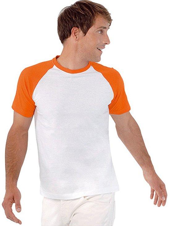 Heren baseball t-shirt oranje 2xl