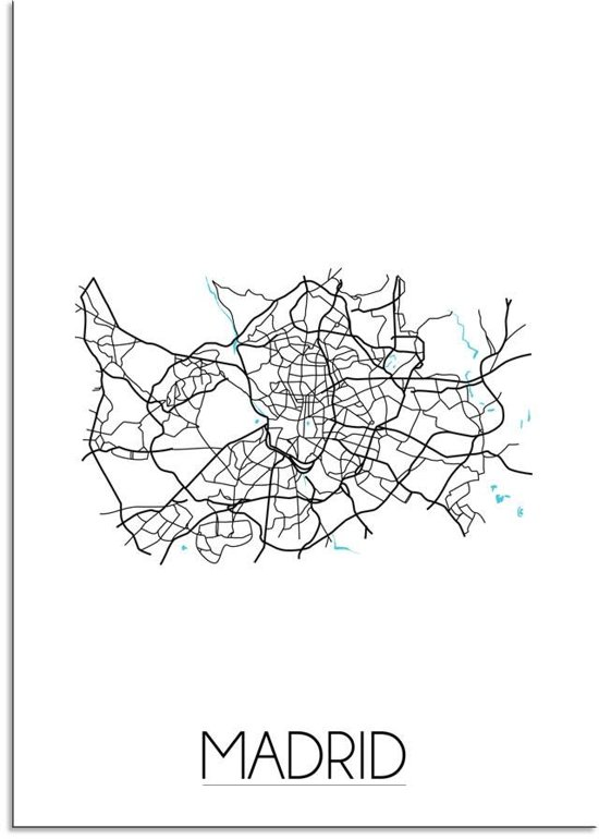 Plattegrond Madrid Stadskaart poster DesignClaud - Wit - A3 + Fotolijst wit
