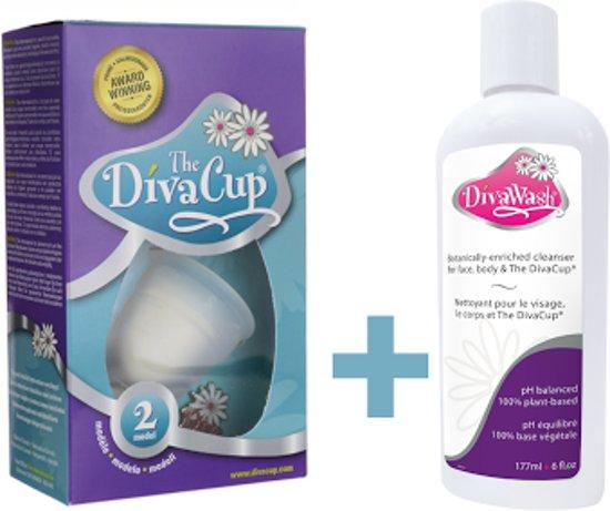 DivaCup Herbruikbare Menstruatiecup Type 2 met  DivaWash Reinigingsmiddel